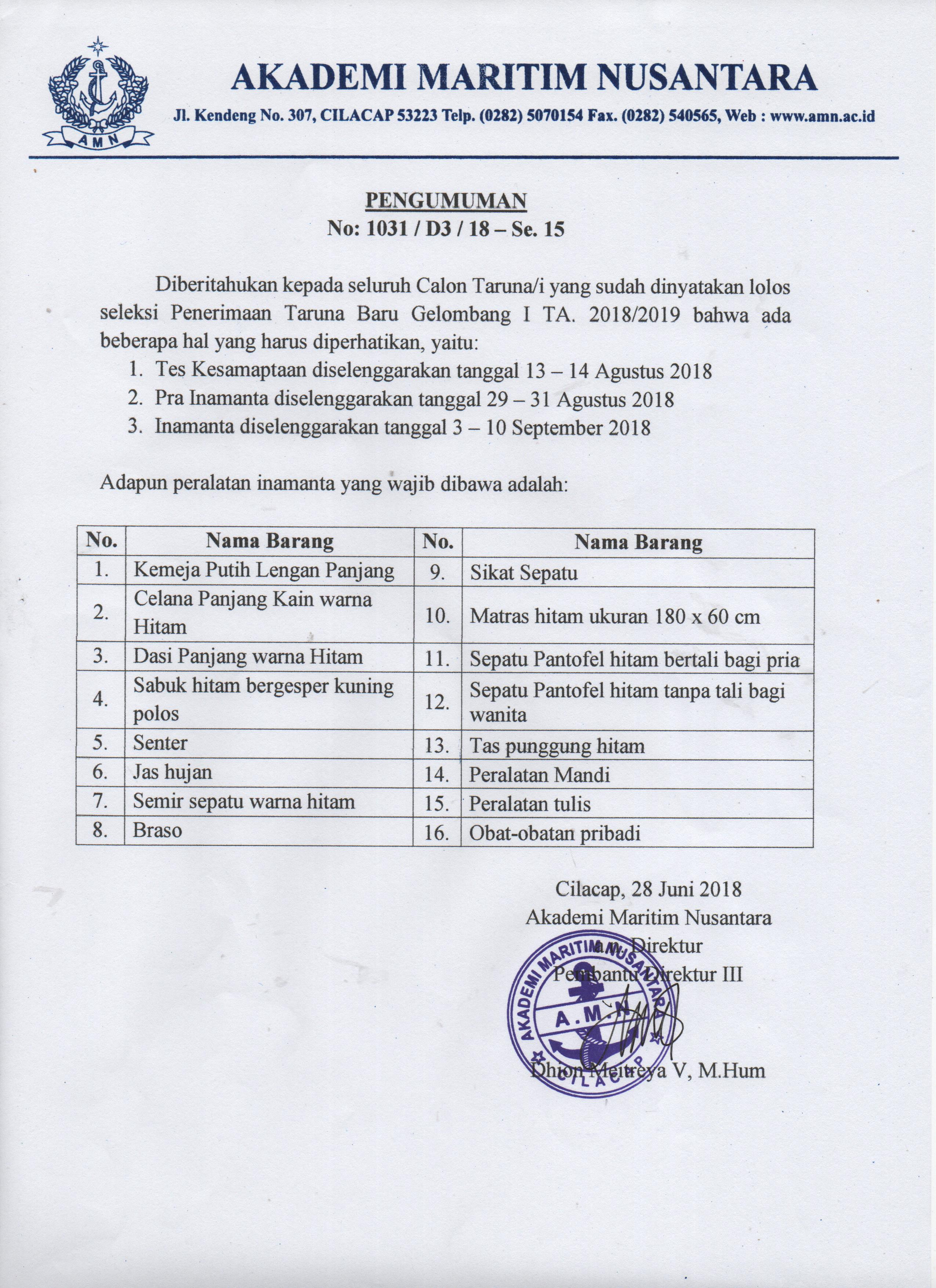 Peralatan Inamanta TA. 2018/2019 WAJIB