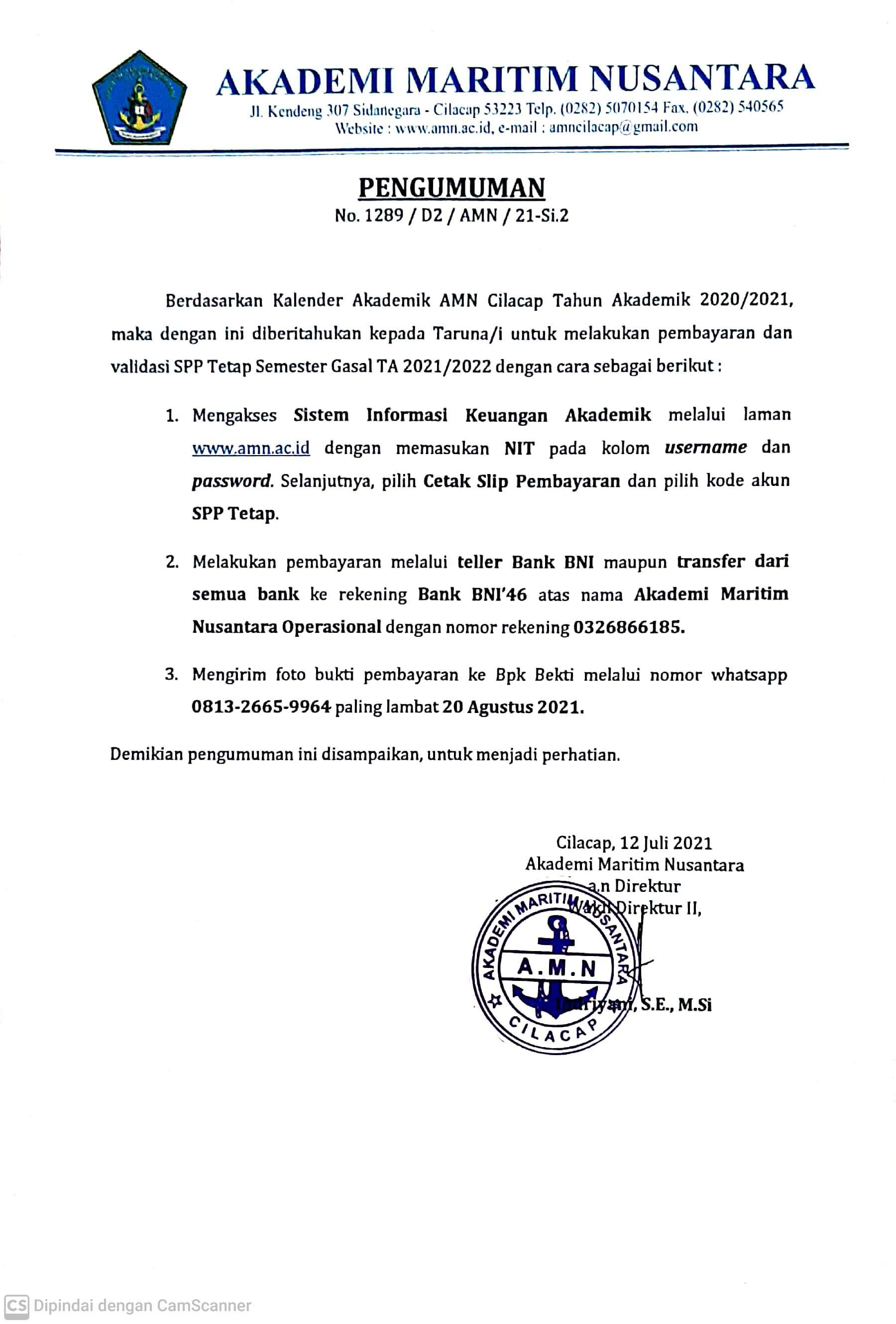 Pengumuman Pembayaran dan Validasi SPP Tetap Semester Gasal TA 2021/2022
