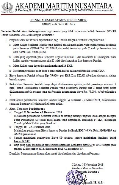 Pengumuman Pendaftaran Semester Pendek Genap TA. 2017/2018