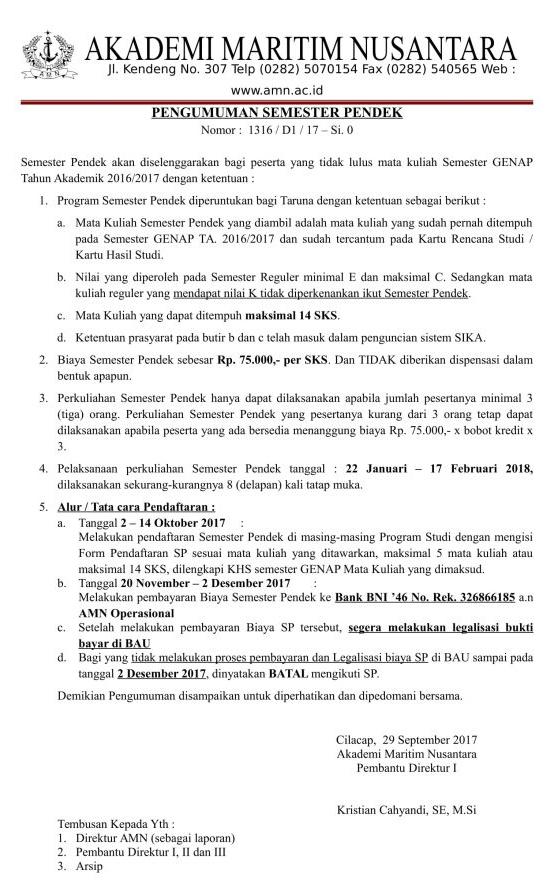 Pengumuman Semester Pendek 2017-2018